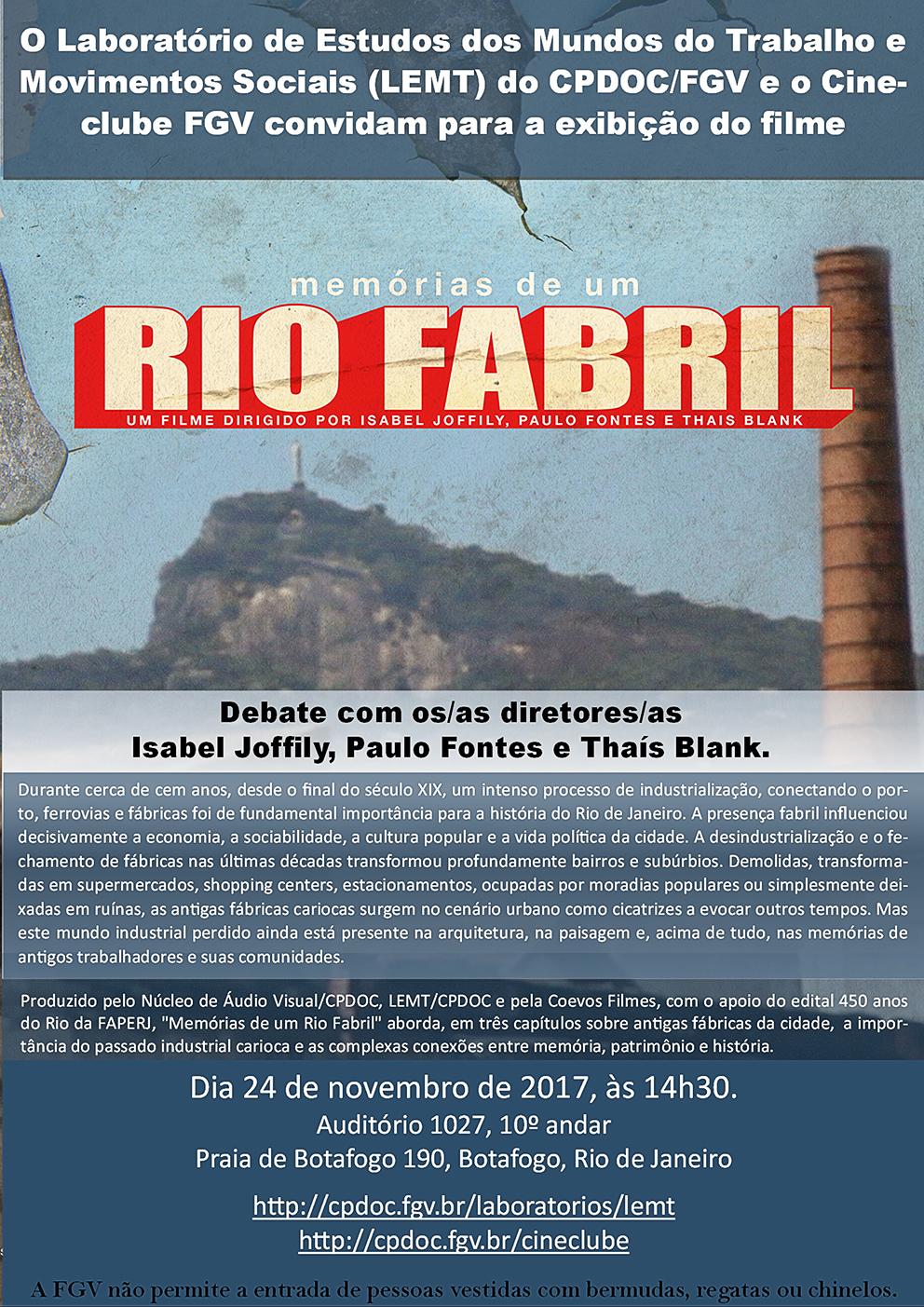 Sessão Cineclube: Memórias de um Rio Fabril